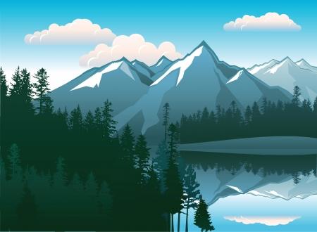 paisaje con hermosas montañas y bosques Ilustración de vector