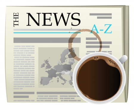 news papers: illustration of mourning coffee and newspaper Illustration