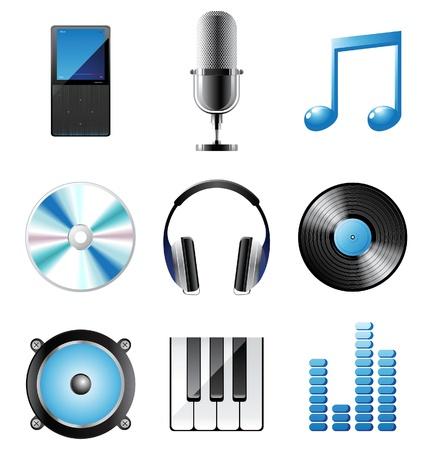 vinyl disk player: music icons set