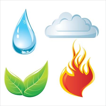 cuatro elementos: elementos de la naturaleza iconos