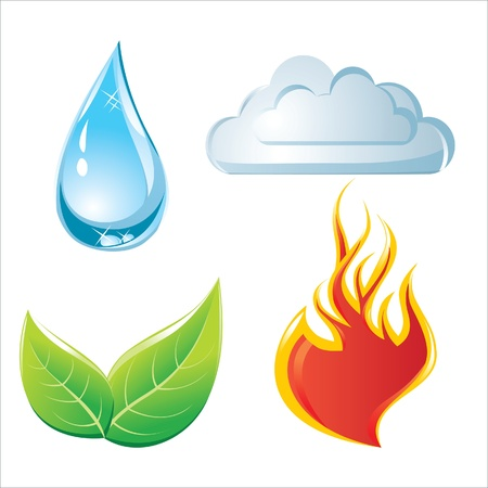 four objects: nature elements icons