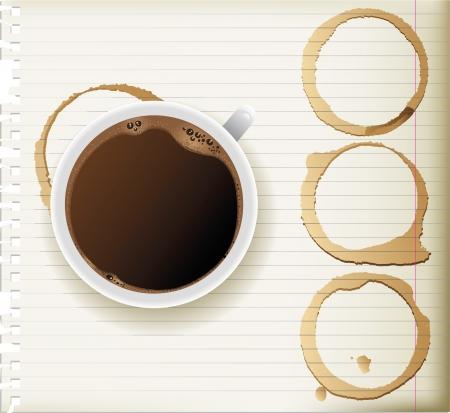 manchas de cafe: taza de caf� y manchas de caf� Vectores