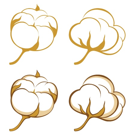 cotton plant: stylized cotton icons