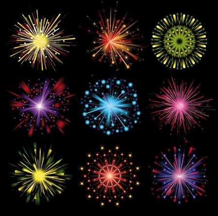 9 highly detailed bright fireworks Stock Vector - 14270173
