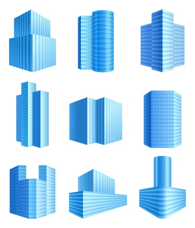 9 office buildings icons set