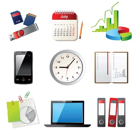 note pc: office icons set Illustration