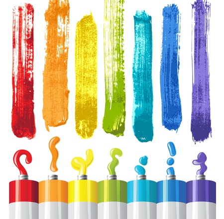 craft supplies: oil paints and strokes in rainbow colors Illustration