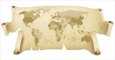 world map on paper scroll Stock Vector - 14270176