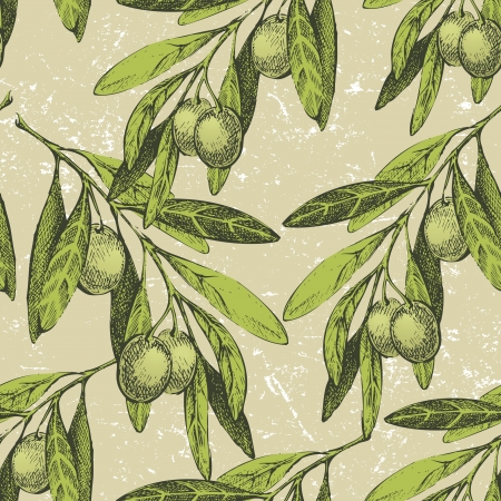 olive branch: seamless ornament with hand drawn olive branches