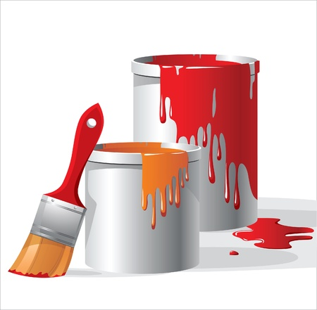 paintbuckets and paintbrush Vector