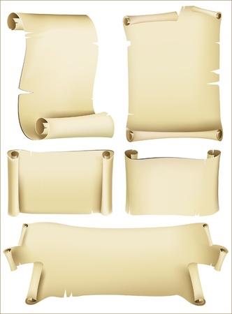 retro-styled paper scrolls  Illustration