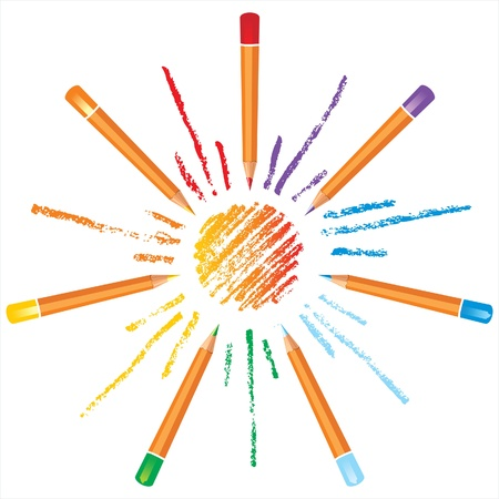 sun made from coloured pencils Stock Vector - 14270268