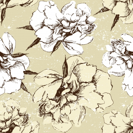 seamless ornament with hand drawn peony flower Vector