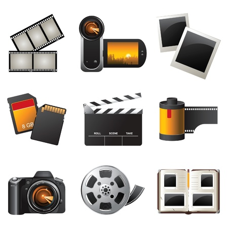 photo equipment: Photo and video icons set  Illustration