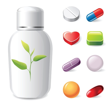 and vitamin: medical icons set over white background