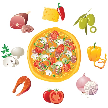 ham and cheese: Pizza and ingredients - make your own pizza! Illustration