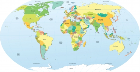 mapa politico: mapa muy detallado mundo de la pol�tica Vectores