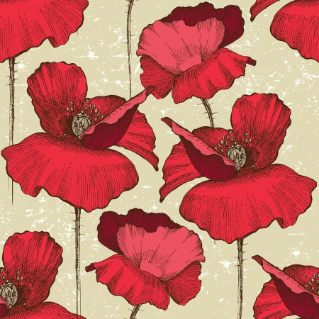 seamless ornament with poppy flowers in retro style Vector