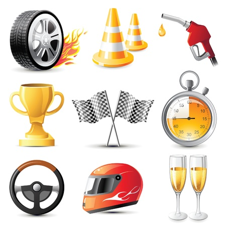 racing wheel: car racing icons set Illustration