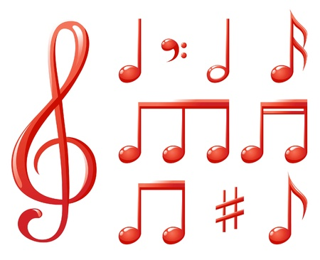 quavers: red glossy music notes