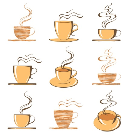 croissants: coffee cups icons Illustration