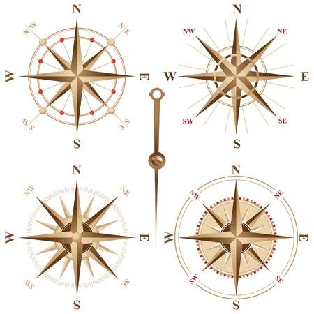 4 retro compasses Stock Vector - 14270314
