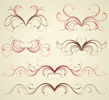 victorian scroll: retro-styled floral design elements