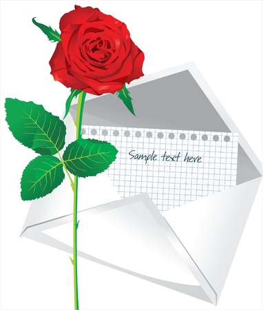 red rose and open envelope Vector