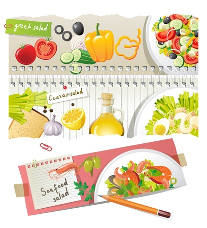 Home salads - colorful highly detailed recipes Vector