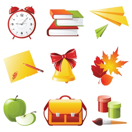 9 colorful school icons  Vector
