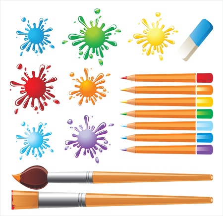 tints: drawing tools and colored blots  Illustration