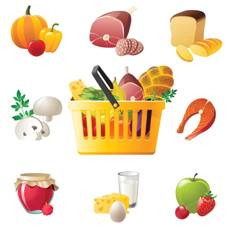 canastas con frutas: cesta de la compra de alimentos y los iconos de alto nivel de detalle