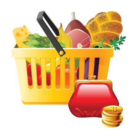 Full shopping basket and wallet - saving money! Vector
