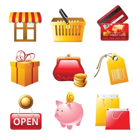 window bars: 9 bright shopping icons set Illustration