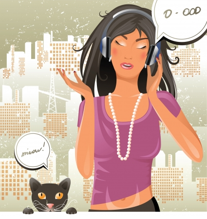 headphones woman: Girl and cat singing together.