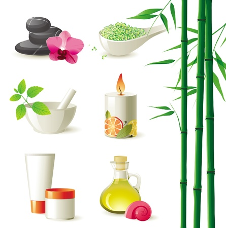 scented candle: highly detailed spa icons set Illustration