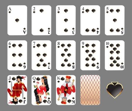 에이스: 카드 놀이 - 스페이드 한 벌 매우 상세한 그림