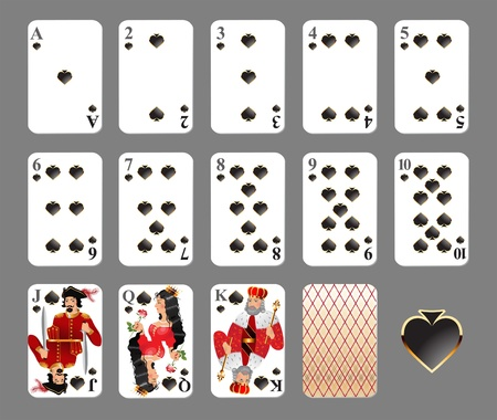 card game: Playing cards - spade suit highly detailed illustration