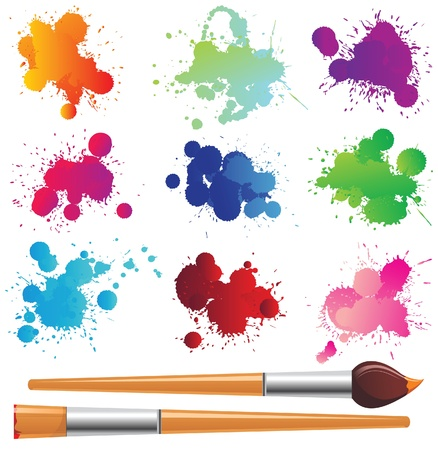 tints: color splashes and paintbrushes over white background