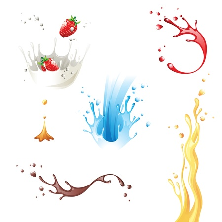 6 highly detailed splash icons Vector