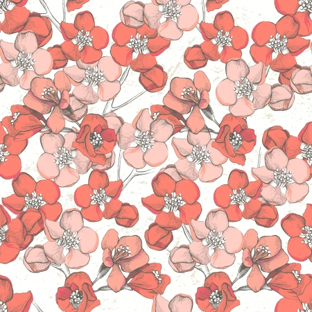 blooming: Spring floral hand drawn seamless ornament
