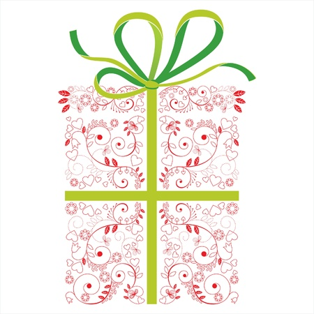 stylized floral present box Stock Vector - 14270474