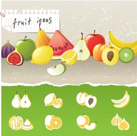 feuille de figuier: frontière de fruits et de fruits stylisés 8 icônes