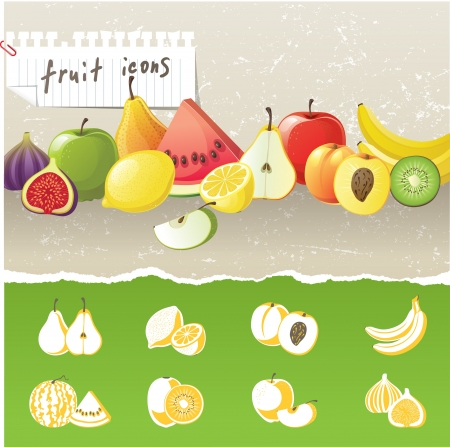 fruit border and 8 stylized fruit icons Stock Vector - 13876396
