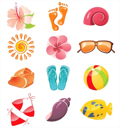 12 summer time icons Stock Vector - 14270471
