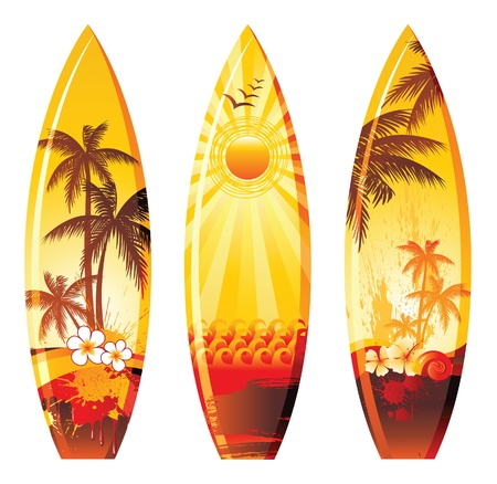 colorful surf boards Vector