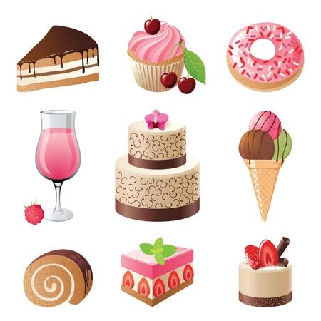 snoepjes: snoep en snoep pictogrammen set illustratie Stock Illustratie