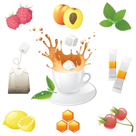 Highly detailed tea icons set Stock Vector - 13876397