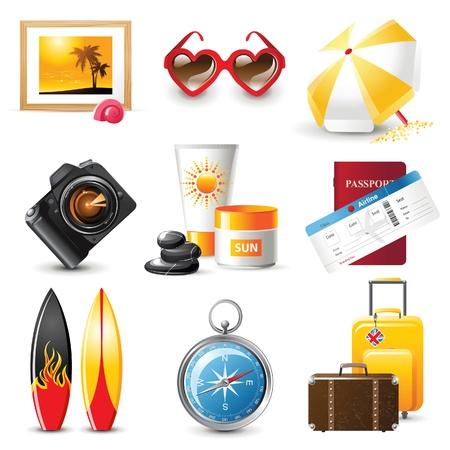 iconos de viaje altamente detallados grabados