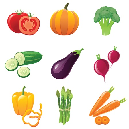 pumpkin tomato: fresh shiny vegetables - icons set